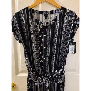 Other - NWT Girls Purple & Black Floral Striped Jumpsuit